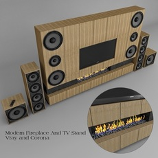 Fireplace And TV Stand 3D Model
