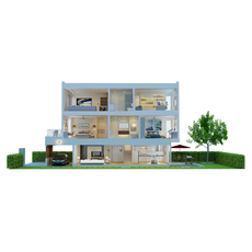 CUTAWAY MODERN HOUSE FULL FURNITURES 3D Model