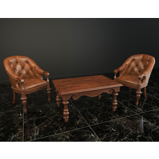 Classic Armchair and Coffee Table 3D Model