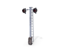Rail Crossing Traffic Light Weathered 6 3D Model