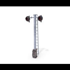 Rail Crossing Traffic Light Weathered 6 3D Model