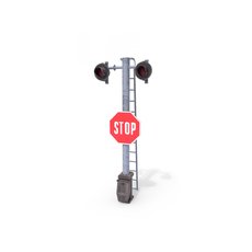 Rail Crossing Traffic Light Weathered 5 3D Model