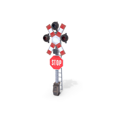 Rail Crossing Traffic Light Weathered 4 3D Model