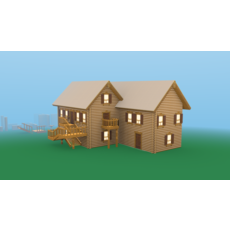 Modular Wooden Cottage 3D Model