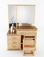 Dressing Table With Chair Dresser 3D Model