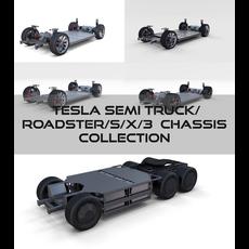 Tesla Chassis Pack(Semi Roadster Model S X 3) 3D Model