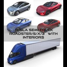 Tesla Pack(Semi Roadster Model S X 3) with interiors 3D Model