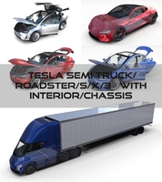 Tesla Pack(Semi Roadster Model S X 3) with interiors and chassis 3D Model