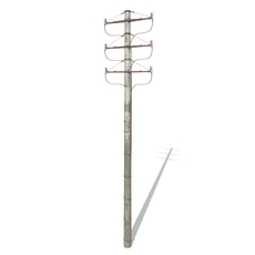 Electricity Pole 1 Weathered 3D Model