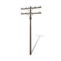 Electricity Pole 9 Weathered 3D Model