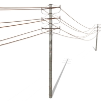 Electricity Pole 18 Weathered 3D Model
