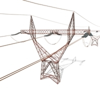 Electricity Pole 22 Weathered 3D Model
