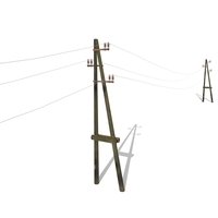 Electricity Pole 23 Weathered 3D Model