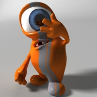Orange Alien Rigged 3D Model