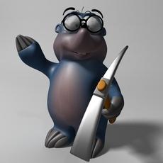 Cartoon mole rigged 3D Model