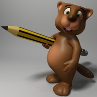 Cartoon beaver rigged 3D Model