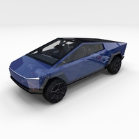 Tesla Cybertruck with chassis and interior Blue 3D Model