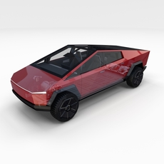 Tesla Cybertruck with chassis and interior Red 3D Model