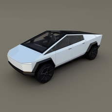 Tesla Cybertruck with interior White 3D Model