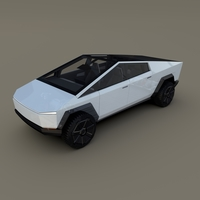 Tesla Cybertruck with chassis and interior White 3D Model