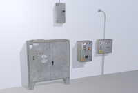 Old factory control panels 3D Model