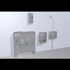 Old factory control panels 3D Model