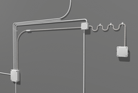 Electric wall wires set 3D Model
