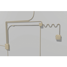 Yellow electric wall wires set 3D Model