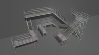 Industrial Stairs Modular 3D Model