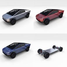 Tesla Cybertruck with Chassis Pack 3D Model