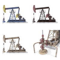 Oil Pumpjack Weathered Pack 3D Model