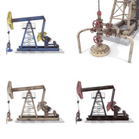 Oil Pumpjack Animated Weathered Pack 3D Model