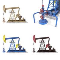 Oil Pumpjack Animated Pack 3D Model