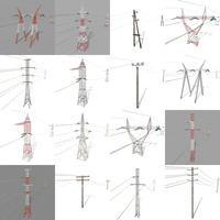 Electricity Pole Pack 3D Model
