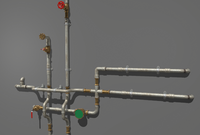 Metal Water Pipes 3D Model