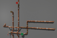 Copper Water Pipes 3D Model
