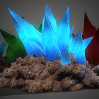3d Cave Crystals GAME READY 3D Model