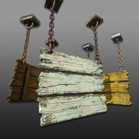 3-Tier Hanging Signs - Game Ready 3D Model