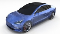 Tesla Model 3 with Chassis Blue 3D Model