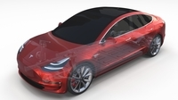 Tesla Model 3 with Chassis Red 3D Model