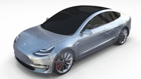 Tesla Model 3 with Chassis Silver 3D Model