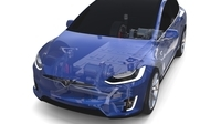 Tesla Model X with Chassis Blue 3D Model