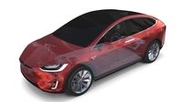 Tesla Model X with Chassis Red 3D Model