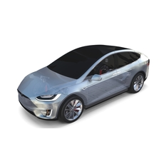 Tesla Model X with Chassis Silver 3D Model