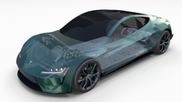 Tesla Roadster Green with Chassis 3D Model