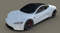 Tesla Roadster White with Chassis 3D Model