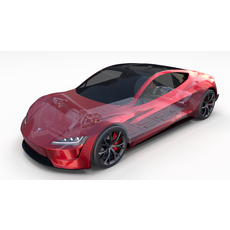 Tesla Roadster with Chassis 3D Model