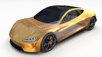 Tesla Roadster Yellow with Chassis 3D Model