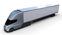 Tesla Truck with Chassis and Trailer Silver 3D Model