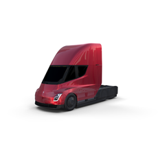 Tesla Truck with Chassis Red 3D Model